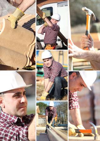 herramientas de carpinteria: Un collage de un trabajador de la construcción