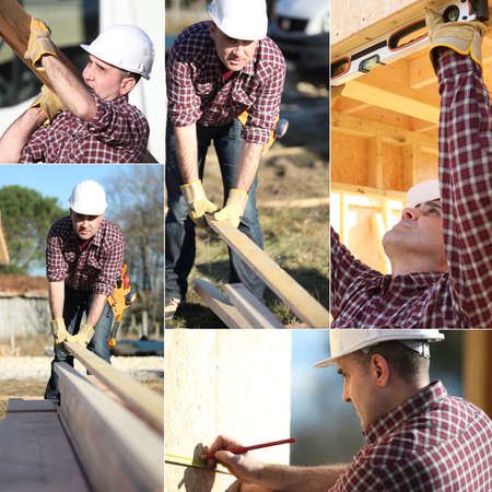 Montage of builder working on wooden house frame photo