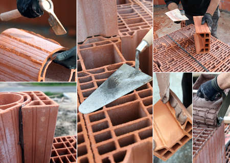 Montage of bricklayer at work photo