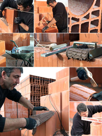 stonemasonry: Collage of a bricklayer