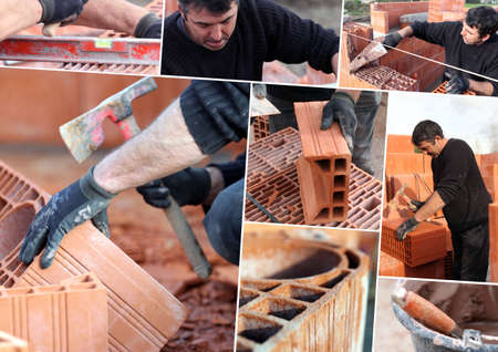 permanence: Mosaic of mason working on site