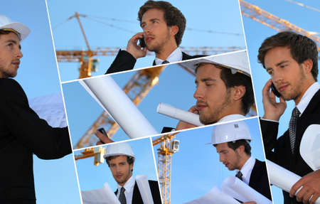 hardworker: Collage of an engineer working on-site Stock Photo