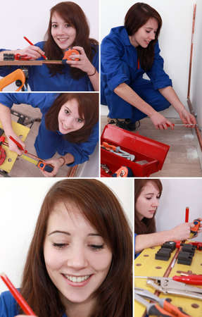 Montage of female plumber at work photo
