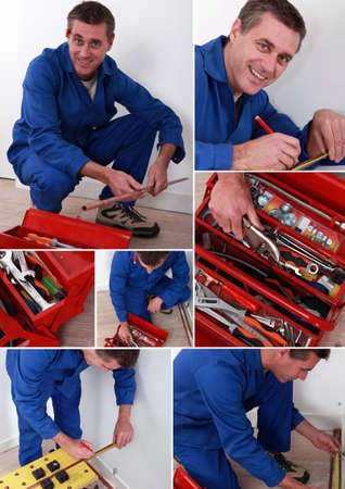 collage of handyman with toolbox photo