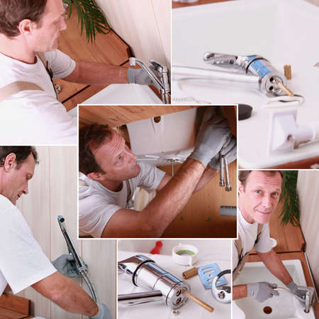 Montage of a plumber installing a kitchen sink photo