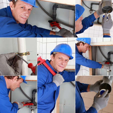 Montage of plumber working on sink photo