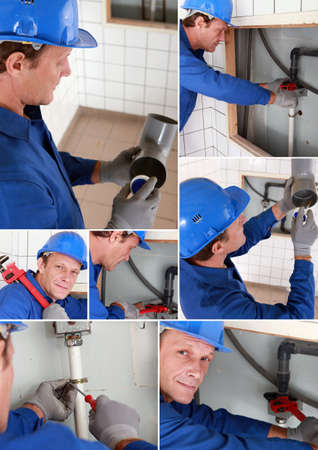 Plumber installing a water system Stock Photo - 14109463