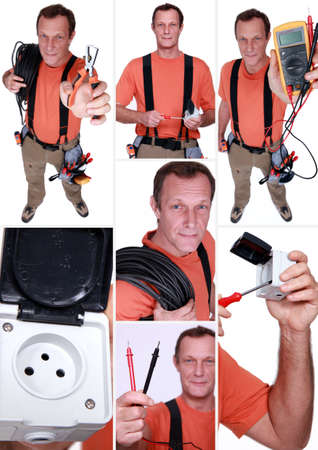 Montage of an electrician Stock Photo - 14109487