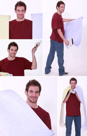 refurbishing: Man holding wallpaper rolls