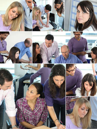 busy  office: Collage of busy office employees Stock Photo