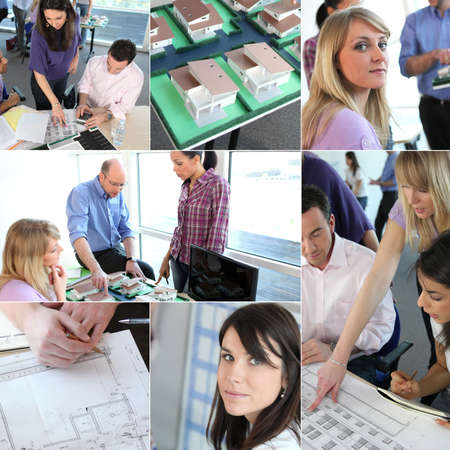 architectural team: Group of architects working had to meet dead-line Stock Photo