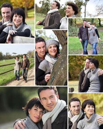 collages: Montage of married couple walking through the park in autumn