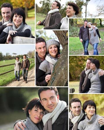 pareja de esposos: Montaje de la pareja se cas� caminando por el parque en oto�o Foto de archivo