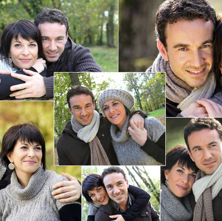 collage of portraits of a couple in the countryside photo