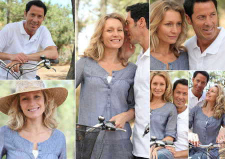 countryside loving: Montage of a couple with bikes in the countryside