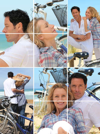 Collage of a couple with bikes by the sea photo