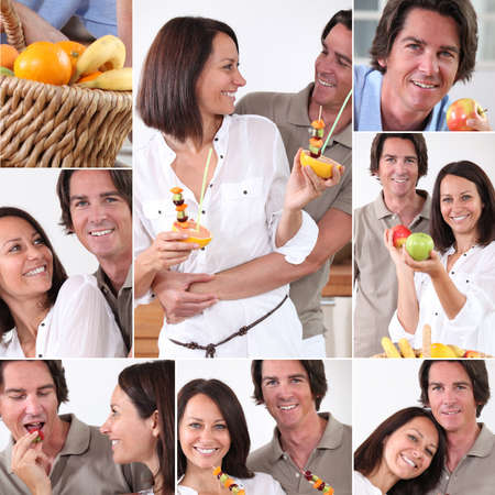 Montage of couple with fruit photo