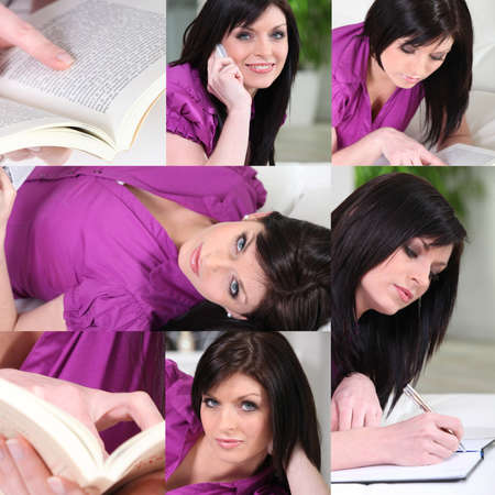 Brunette studying at home photo