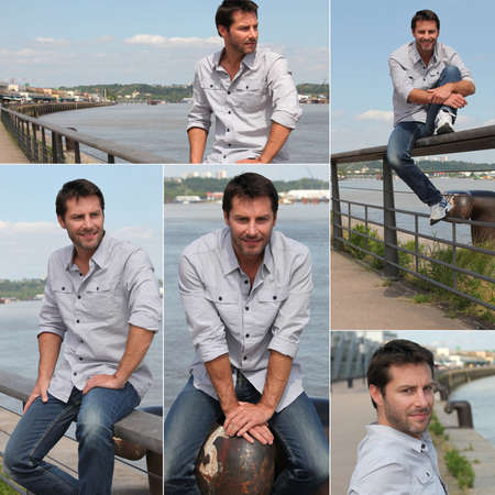 30s: Collage of a man on a quay Stock Photo