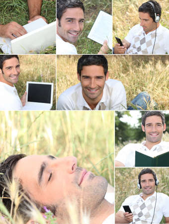 Montage of a man relaxing in the grass photo