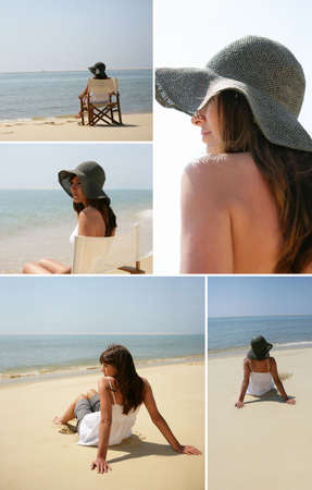 young woman with sun hat at beach photo
