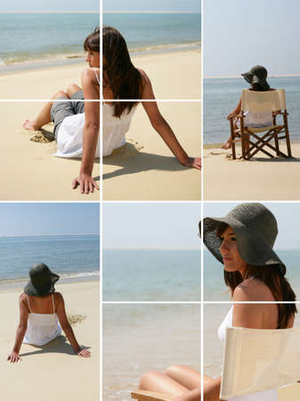 Montage of a serene woman on a beach photo