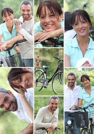 Collage of a couple with their bicycles photo