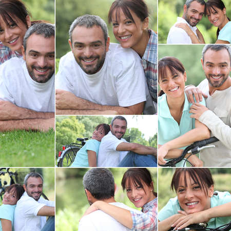 Collage of a couple enjoying a summers day together photo