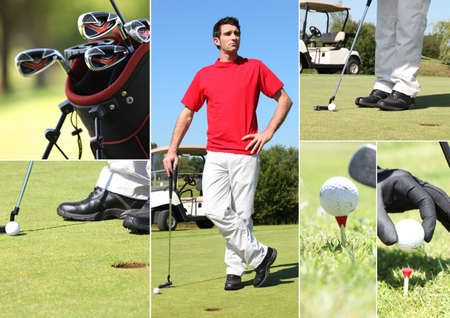 medium shot: Man enjoying round of golf Stock Photo