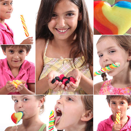 health collage: Montage of children eating sweets