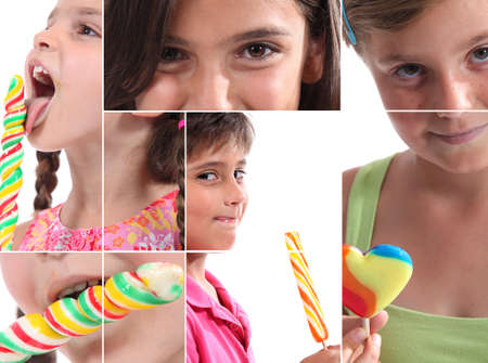 Montage of children with lollipops Stock Photo - 14100941