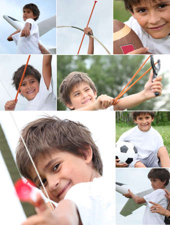 Mischievous little boy playing outdoors photo