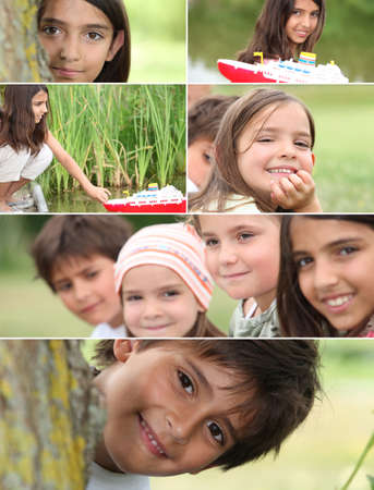 school playground: Montage of kids playing in the park Stock Photo