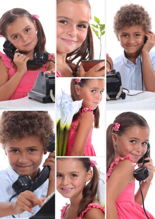 Montage of two young children with telephone photo