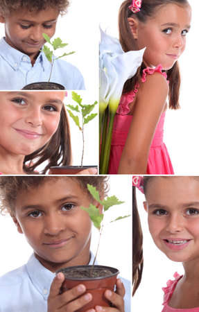 kids eating healthy: Montage of two children with plants