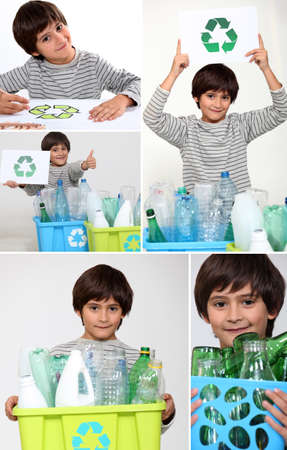 international recycle symbol: Collage of a boy recycling Stock Photo