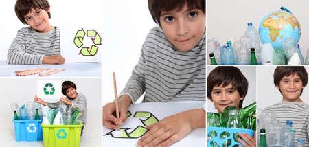 ni�os reciclando: Montaje de reciclaje de ni�o