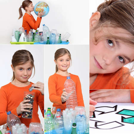 Little girl recycling photo