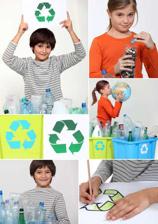 recycle reduce reuse: Collage de los ni�os de reciclaje Foto de archivo
