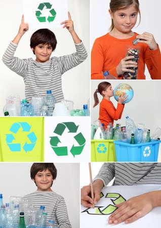 recyclage plastique: Collage des enfants de recyclage