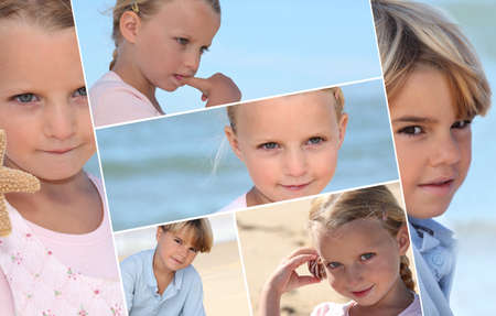 Montage of children on a beach photo