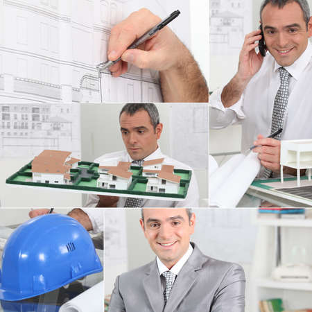 Montage of architect on his office photo