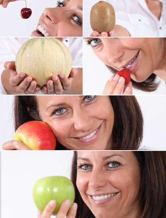 Montage of a woman eating fruit Stock Photo - 14102130