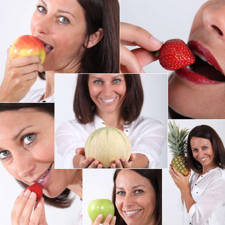 Montage of a woman eating fruit photo