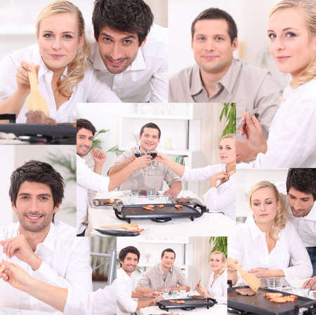 Montage of friends eating dinner at home photo