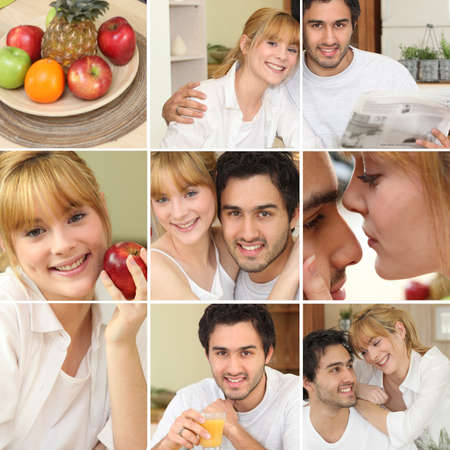 Montage of couple eating a nice healthy breakfast together photo