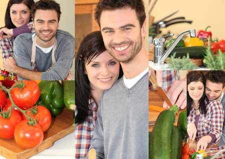 Couple preparing vegetables in kitchen photo