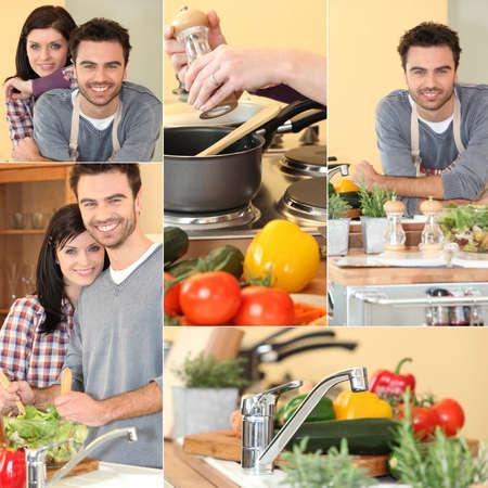 happy couple enjoying cooking photo