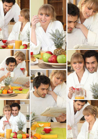 Mosaic of couple having breakfast together photo