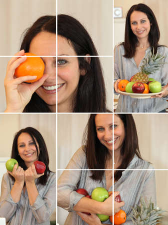 Collage of woman holding a variety of fruit photo